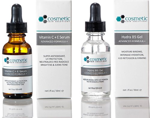 Vitamin C+E Serum + Hydrating B5 Gel Advanced Formula +. Prevent / Hydrate - 2 Combo Pack - 1 fl oz / 30 ml each.