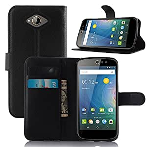 Taslar Leather Wallet Magnetic Clip Stand Flip Back Cover Case For Acer Liquid Z530 (Black)