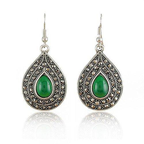 Joyería hecha a mano, antigüedad de la vendimia verde Indian Princess Style Pendientes Bisutería, disponible en cuatro colores