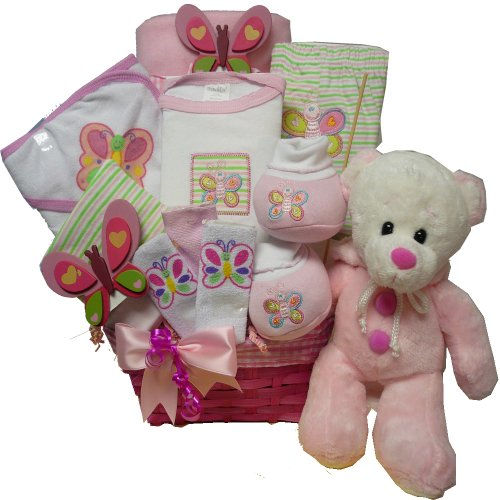 Art of Appreciation Gift Baskets My Little Flutterby New Baby Gift Basket with Teddy Bear, Girl