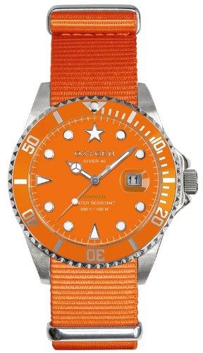 Oxygen EX-D-SEA-40-OR - Reloj analógico de cuarzo unisex, correa de nailon color naranja (agujas luminiscentes)