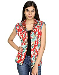 Rajrang Women's Machine Quilted Reversible Cotton Floral Printed Jacket Dress (red, Blue, Small)