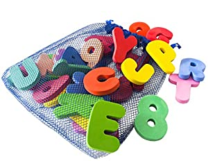 Freddie And Sebbie Bath Letters And Numbers With Bath Toys Organizer - Luxury 36 Piece Set of Bath Foam Letters and Numbers