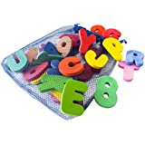 Bath Letters And Numbers With Bath Toys Organizer by Freddie and Sebbie - Luxury 36 Piece Set of Baby Bath Foam Letters and Numbers Non Toxic