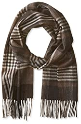 Phenix Cashmere Men\'s Exploded Plaid Scarf, Camel, One Size
