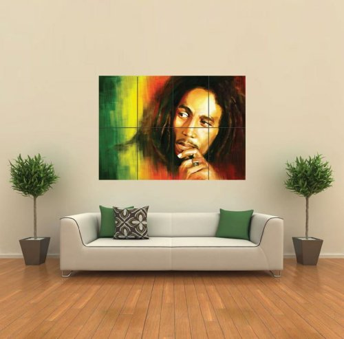 BOB MARLEY IN RASTA COLORS GIANT WALL ART POSTER G430 (Bob Marley Painting compare prices)