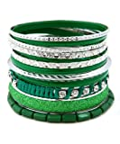 Madison Ave Fashion Rhodium Green Stackable Bangle