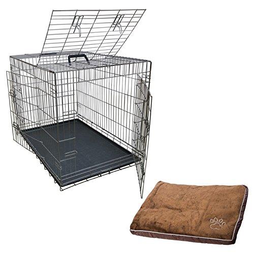 Transportbox Transportkäfig Drahtkäfig Klappbar Hundebox Hundekäfig Käfig Größe XL in Silber + Kissen