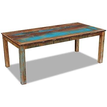 Vidaxl tavolo da pranzo mobili Home Decor a mano in legno massello 2misure, 200x100x76 cm