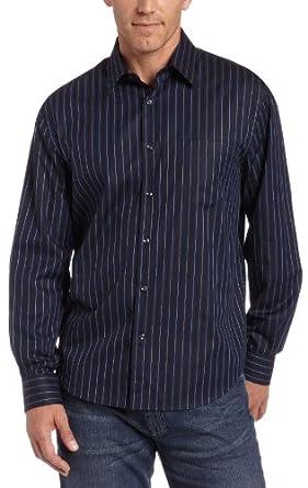 Perry Ellis Men's Radiant Satin Stripe Shirt,Eclipse,Small