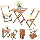 7-tlg-Balkonset-Terassen-Set-Bistroset-Balkonmbel-Gartenstuhl-Holz-Gartenmbel-Akazie-gelt-2x-Klappstuhl-1x-Klapptisch-2x-Sitz-Auflagen-2x-Rckenkissen-creme-weiss