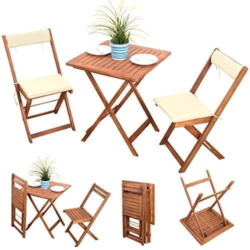 7-tlg-Bistroset-Balkonset-Balkonmbel-Gartenstuhl-Holz-Gartenmbel-Terassen-Set-Akazie-gelt-2x-Klappstuhl-1x-Klapptisch-2x-Sitz-Auflagen-2x-Rckenkissen-creme-weiss