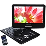 "DBPOWER 9.5"" Portable DVD Player, 2 Hours Rechargeable Battery, Swivel Screen, Supports SD Card and USB, Direct Play in Formats MP4/AVI/RMVB/MP3/JPEG (9.5"" Black)"