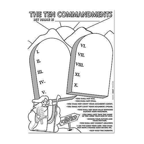.com - The Ten Commandments Coloring Paper Poster Childrens Sunday