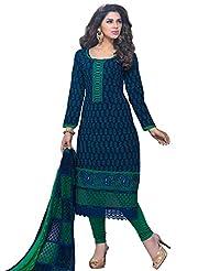 DivyaEmporio Women's Cotton Resham Salwar Suit Dupatta Unstitched Dress Material (Blue_Free Size) - B00UHEAUXG