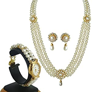 Classique Designer Silver Alloy With Gold Plated Round Pearl Necklace Set For Women(CP138)