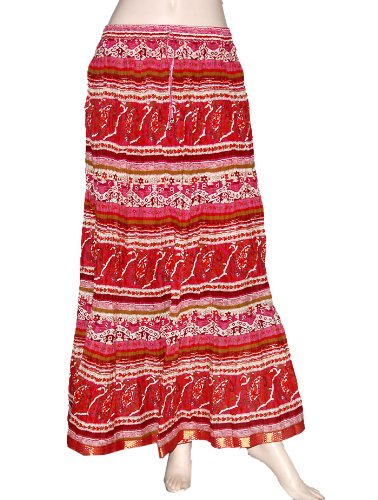 Reversible Women Party Wear Rajrang Crinkle Style Bohemian Boho & Gota Work & Block Print Indian Skirt Hyppie Gypsi Dance Belly Cotton Red Color Long Skirt India