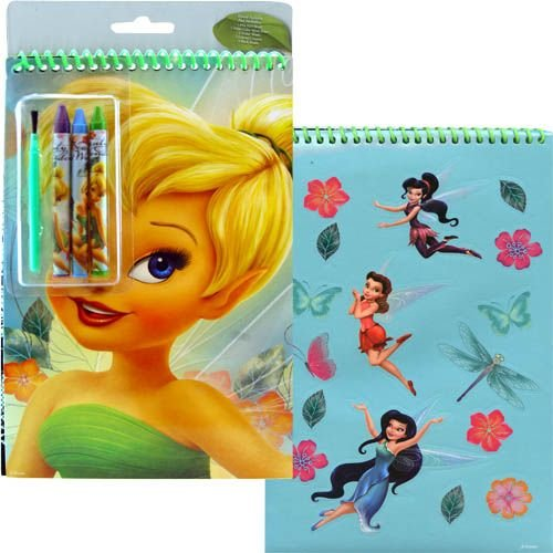 Disney Tinkerbell Spiral Notepad Activity Set - Includes Stickers Crayons & Paint Brush