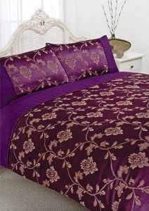 Embellished Floral Jacquard Duvet Quilt Cover Gold