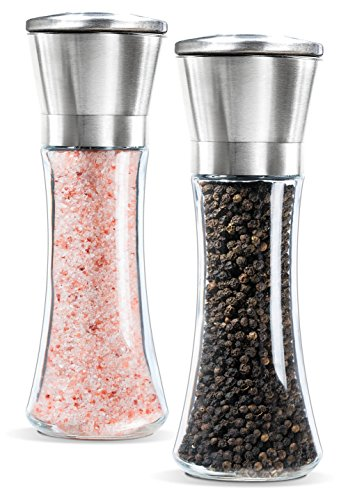 Levav Premium Stainless Steel Salt and Pepper Grinder Brushed Stainless Steel Pepper Mill and Salt Mill, Glass Tall Body, 5 Grade Adjustable Ceramic Rotor, Salt and Pepper Shakers, Set of 2