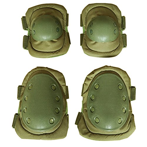 Kiwivalley 4 in 1 Military Tactical Knee Pad Elbow Pad Set,Cheap And Practical, Skate & Skateboarding Protection Knee Pads, Cycling Safety Gear Equipment (green) (Cheap Hockey Ice Skates compare prices)