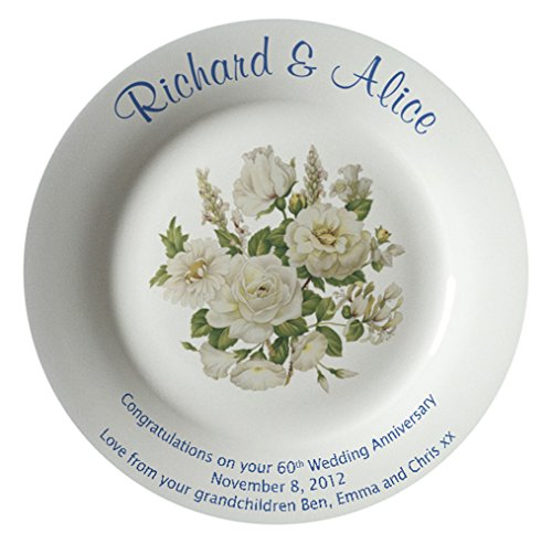 Personalized Bone China Commemorative Plate For A 60th Wedding Anniversary - White Rose Design With A Plain Rim