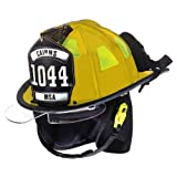 MSA 1044DSY Cairns 1044 Traditional Composite Fire Helmet with Defender, Yellow, Nomex Earlap, Nomex Chinstrap with Quick Release & Postman Slide, Lime/Yellow Reflexite, 6