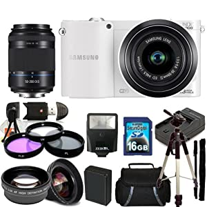 Samsung NX1000 Mirrorless Wi-Fi Digital Camera (White) Kit with 20-50mm Lens & Samsung 50-200mm f/4.0-5.6 ED OIS II Lens. Includes 0.45X Wide Angle Lens, 2X Telephoto Lens, 3 Piece Filter Kit (UV-CPL-FLD), 16GB Memory Card & Much More!