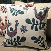 Pillow-Cases Cotton Linen Embroidery Pillowcase Blue Peacock Throw Pillow Cushion Covers (one side printing 45 X 45 cm) by Pillow-Cases