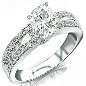 1.15 Carat Cushion Cut / Shape 14K White Gold Twisting Split Shank Contemporary Diamond Engagement Ring ( H-I Color , SI1 Clarity )