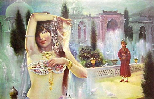 """Dolls Of India """"Courtesan Entertains The Maharaja"""" Reprint On Paper - Unframed (91.44 X 58.42 Centimeters)"""