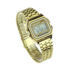 buy Susenstone® Stainless Steel Digital Alarm Stopwatch Wrist Watch (Gold)