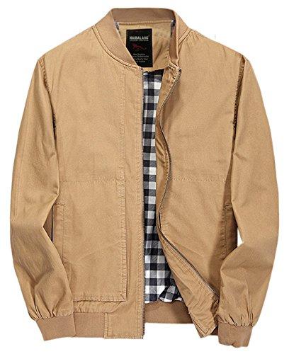 Chouyatou Men's Casual Long Sleeve Full Zip Jacket with Shoulder Straps (Large, 41Khaki)
