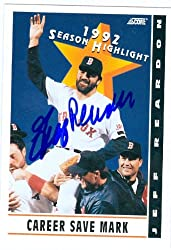 Jeff Reardon autographed Baseball Card (Boston Red Sox) 1992 Score #514 Season Highlight - Save Leader