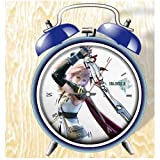 XINGQU Final Fantsy XIII Anime Colorful Design Twin Bell Alarm Clock, Blue