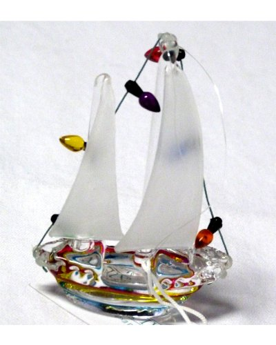 "Nautical Glass Sailboat Christmas Ornament With Holiday Lights - Green, Yellow And Red Striped Hull With White Sail - 3.5"" X 2.5"" - Comes Packaged With A Credit Card Sized Tropical Magnet Featuring A Starfish, Anchor Sailboat And Palm Tree - Gift Idea"