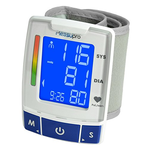 MeasuPro Easy Read Automatic Digital Wrist Blood Pressure Monitor with Heart Rate Detection, Two User Modes, Memory Recall and Large Backlit LCD Display (Blood Pressure Monitoring Machine compare prices)
