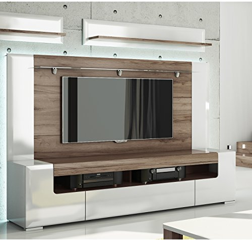 Toronto TV Cabinet with Wall Panel - Large - Living Room Entertainment Center / Large TV media storage / Fit for up to 84 inch flat panel TV / High Capacity TV Stand / Toronto Collection Design (Tv Wall Entertainment Center compare prices)