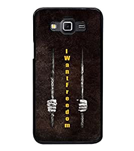 Fuson Premium 2D Back Case Cover I want Freedom With Brown Background Degined For Samsung Galaxy Grand 3 G720::Samsung Galaxy Grand Max G720