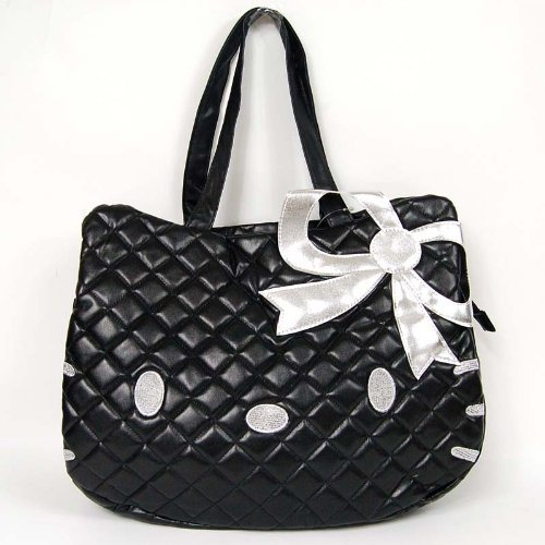 Hello Kitty Head Shaped Tote Shoulder Bag Black front-913146