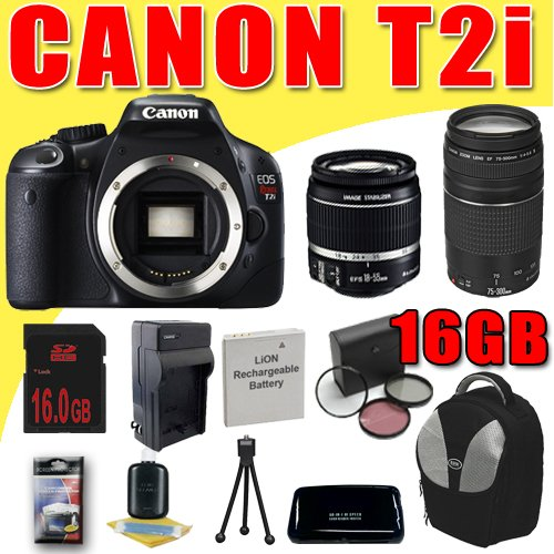 Find a Canon EOS Rebel T2i 18 MP CMOS APS-C Digital SLR Camera w/ Canon EF-S 18-55mm f/3.5-5.6 IS Lens + Canon EF 75-300mm f/4-5.6 III Telephoto Zoom Lens LPE8 Battery/Charger Filter Kit Backpack DavisMAX 16GB Bundle