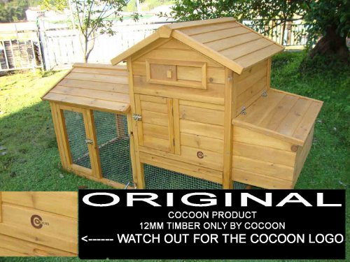 COCOON CHICKEN COOP HEN HOUSE POULTRY ARK NEST BOX NEW WITH ROOF TO BE FULLY OPENED - BEAUTIFUL 5FT MODEL WITH INTEGRATED RUN  &  CLEANING TRAY  &  INNOVATIVE LOCKING MECHANISM