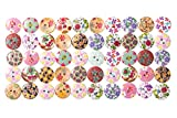 選べる3種類 ウッド ボタン 可愛い 花柄 15mm 1.5 cm 50 100 200 個セット 手芸 などに最適!! (花柄 200個)