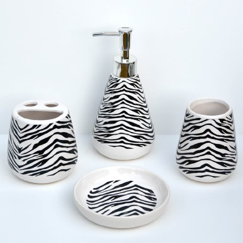 4 Piece Bathroom Ceramic Accessory Set: Lotion/Liquid Soap Dispenser, Tumbler, Toothbrush Holder, Soap Dish: BLACK ZEBRA