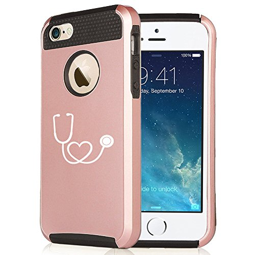 Apple-iPhone-6-Plus-6s-Plus-Rose-Gold-Shockproof-Impact-Hard-Case-Cover-Heart-Stethoscope-Nurse
