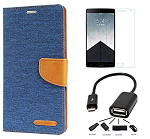 Online Street Premium Drop Protection Flip Combo For LENOVO A7000- (Matte Blue l Tempered l OTG)