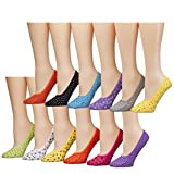 Tipi Toe Women's 12 Pack Colorful No-Show Low-Cut Sock Foot Liners,