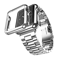 Hoco for Apple Watch 42mm Grand Series 2 Pointers Stainless Steel Metal Soft Watchband Plated Shell (Silver+iwatch case rose Silver)