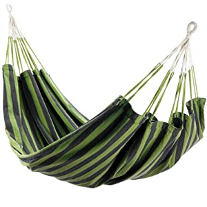 Hanging Hammock with carry bag- Very resistant polycotton fabric- - Size 200 X 150 cm - GREEN.