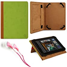 """buy Marry Edition Vg Brand Folio Stand Alone Protective Leatherette Carrying Case Cover Case Cover-(Green) For Amazon Kindle Fire 7"""" Inch Android Tablet + Pink Stereo Hifi Noise Isolating Premium Headphones With Silicone Ear Tips"""
